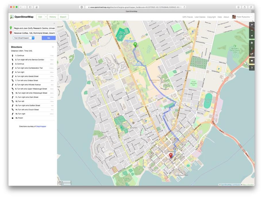 OpenStreetMap Walking Directions