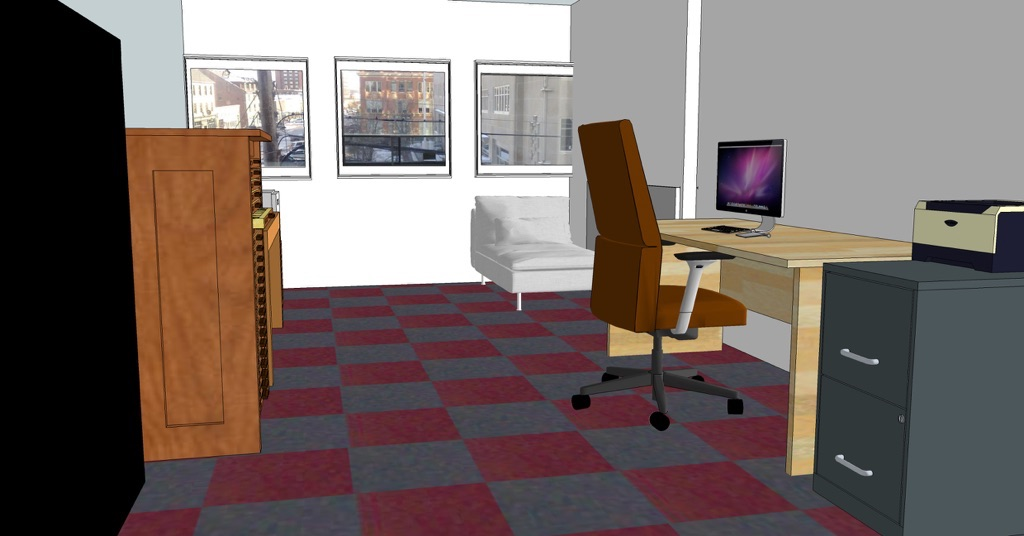 A SketchUp model of my office, showing the new chaise in the corner.