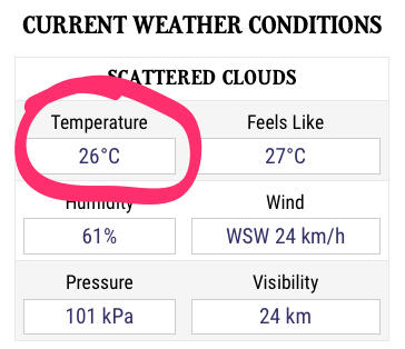 Temperature in Charlottetown as I write
