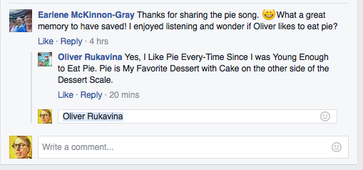 Earlene and Oliver on Pie (Facebook screen shot)