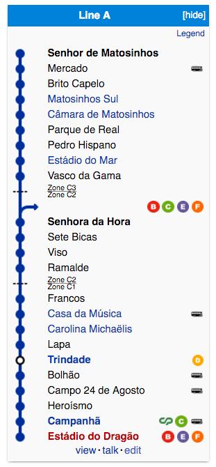 Porto Metro Line A Map