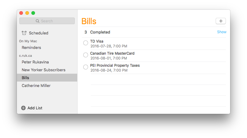 Setting Bill Reminders
