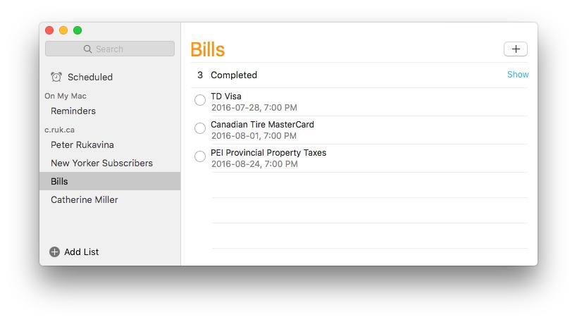 Setting Bill Reminders