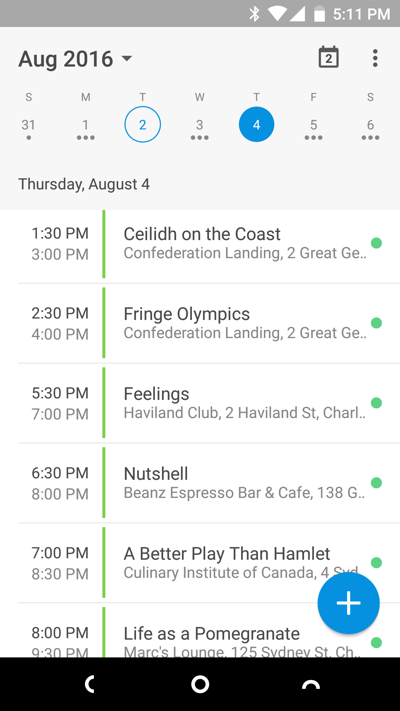 Screen shot of my Android calender app showing a slice of the schedule.