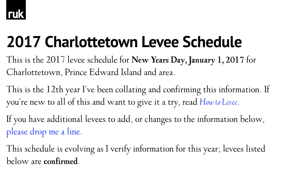 The levee schedule in Deepdene