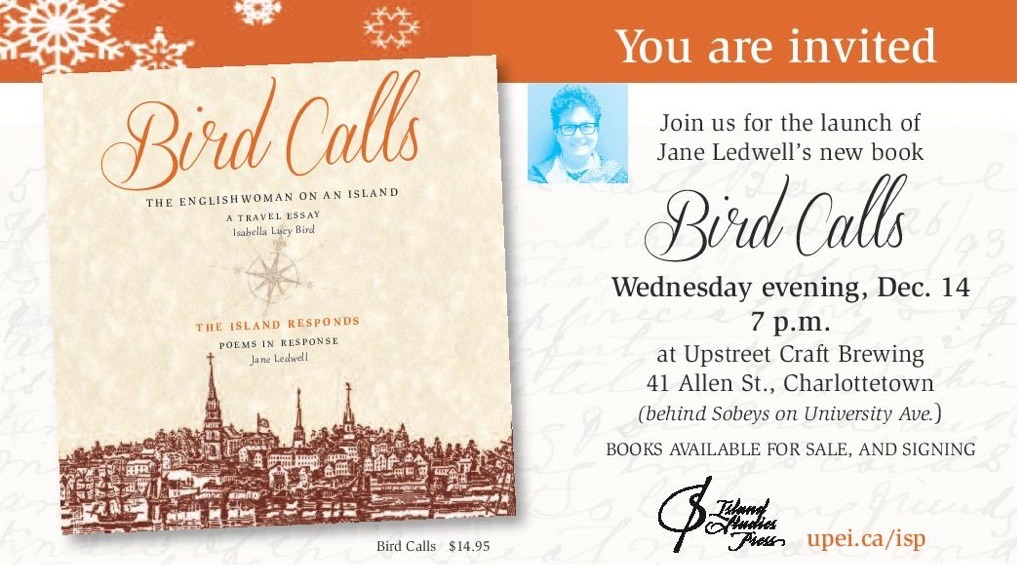 Snapshot of graphic invitation to the launch of Bird Calls at the Upstreet Craft Brewery, Dec. 14 at 7:00 p.m. Invitation shows book cover, author photo and event details.