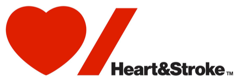 The New Heart and Stroke Foundation logo: a red heart followed by a red stroke (or slash) character.