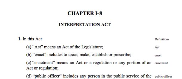 The contemporary Interpretation Act showing chapter I-8 designation