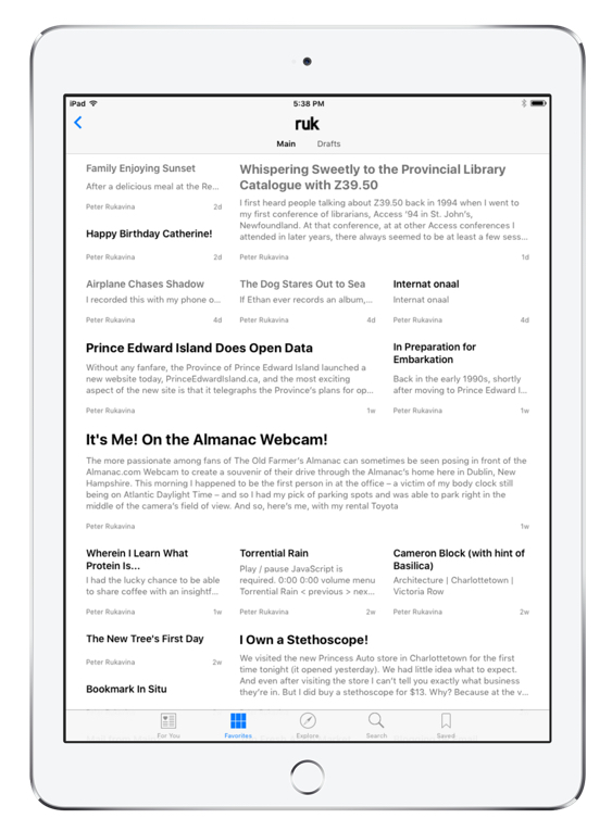 Apple News on an iPad