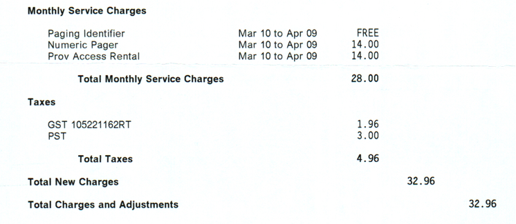 Island Tel Mobility Bill (details) from 1998