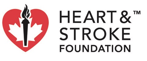 The Old Heart and Stroke Foundation Logo: a red heart with a white maple leaf inside it, overlaid by a black torch.
