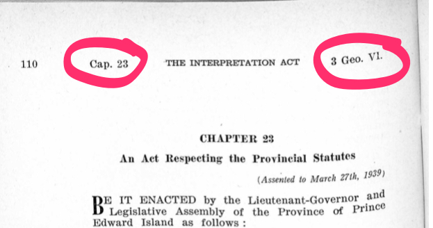 The Interpretation Act, highlighting the Chapter and Regnal Year