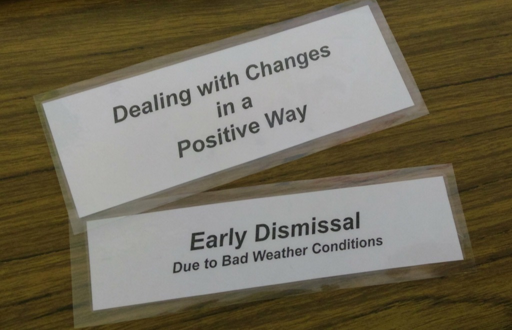 Photo of cards developed by Oliver and his EA to help with changes in the school day.