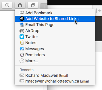 Shared Links in Safari