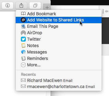 Shared Links in Safari