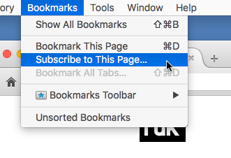 Live Bookmark in Firefox