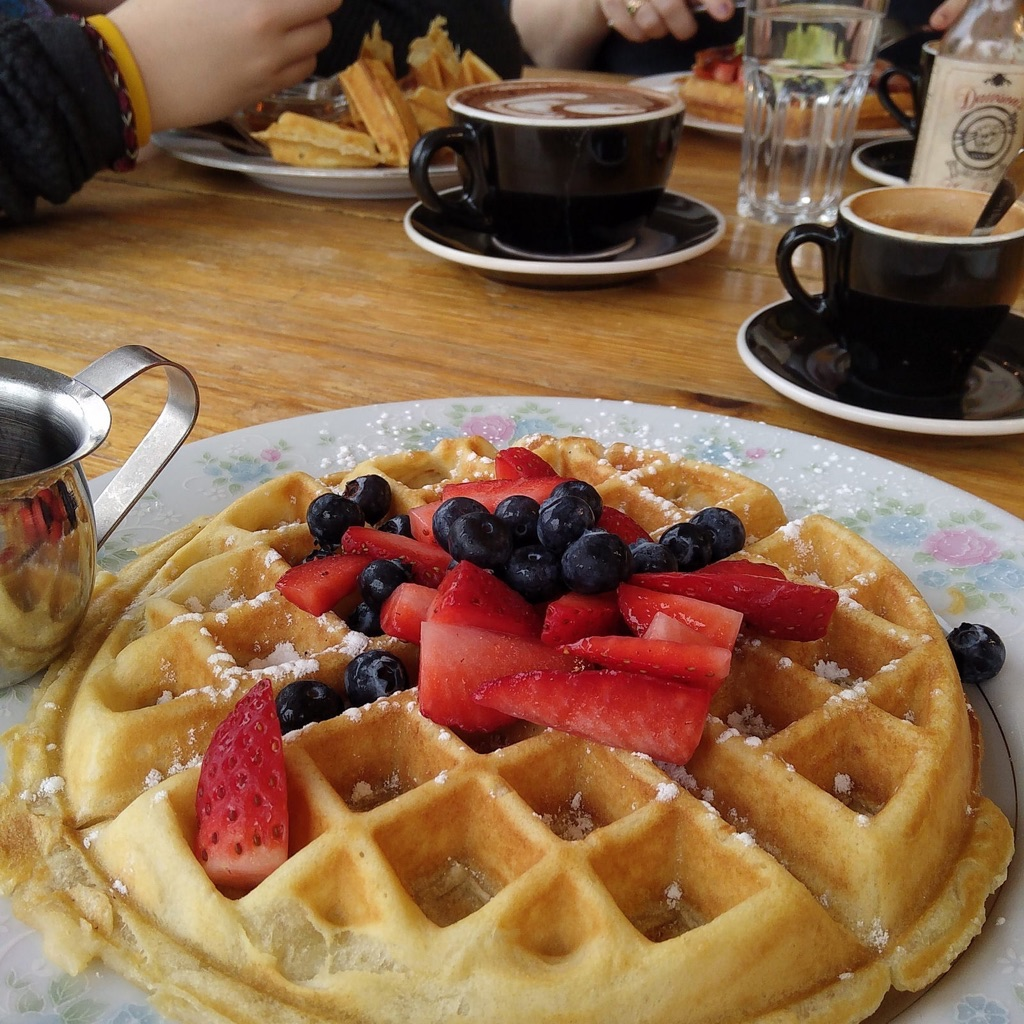 The Cannon waffles and coffee.