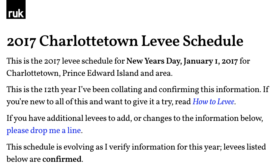 Levee schedule in Vollkorn