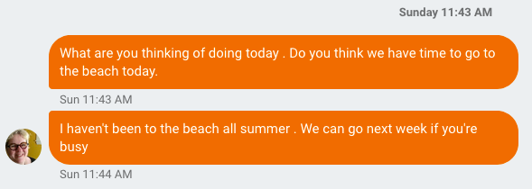 Detail from an SMS chat with Catherine about going to the beach