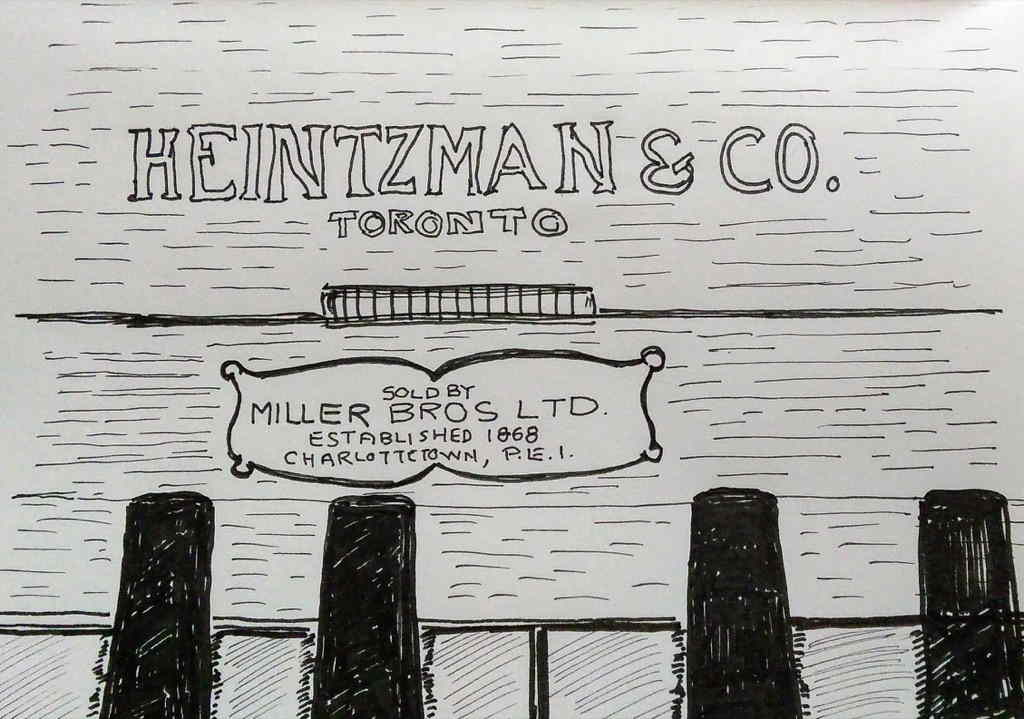 Sketch of detail of Heintzman piano from Haviland Club, sold by Miller Bros