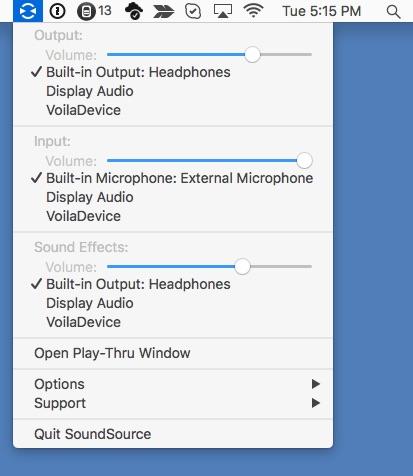 Screen shot of SoundSource flying down from the menu bar.