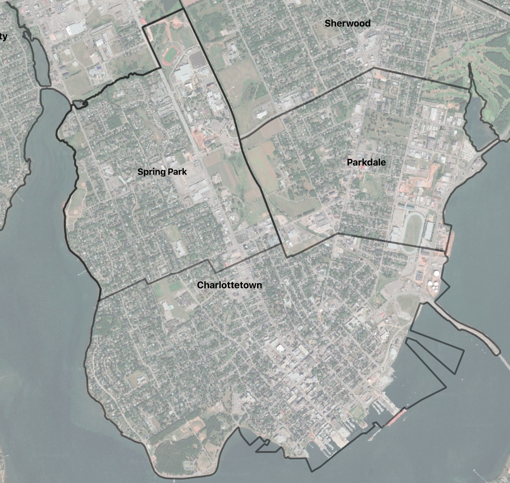 Map showing the boundaries of Spring Park and Charlottetown before 1958 amalgamation.