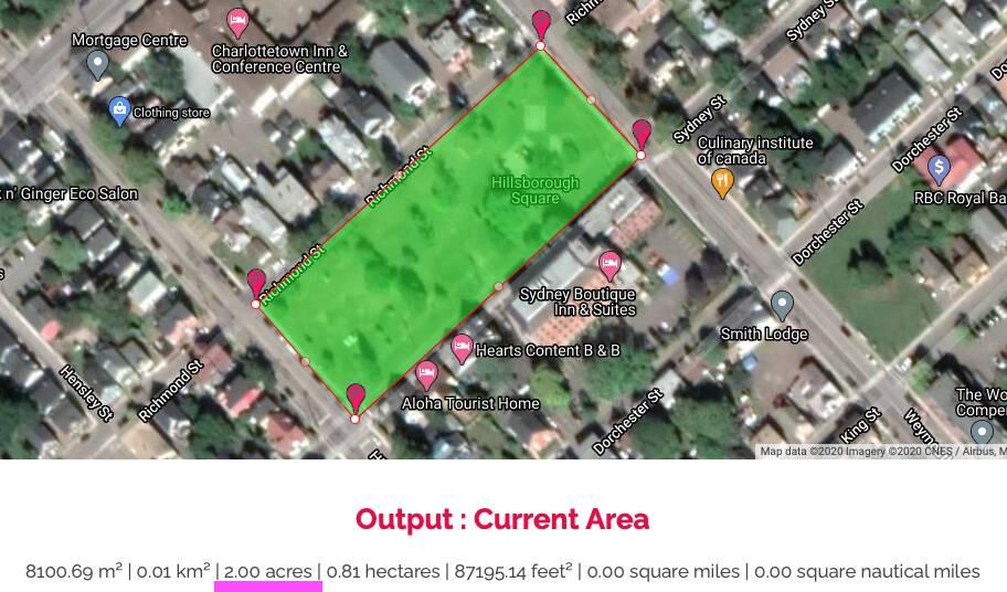 Size of Hillsborough Square, measured on Google Maps: 2 acres
