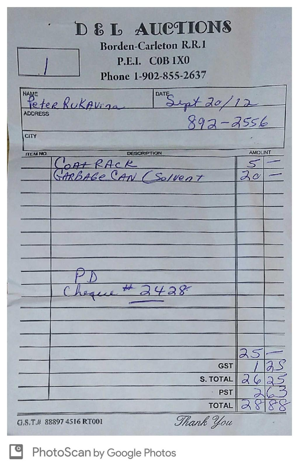 Receipt for Queens Printer Auction
