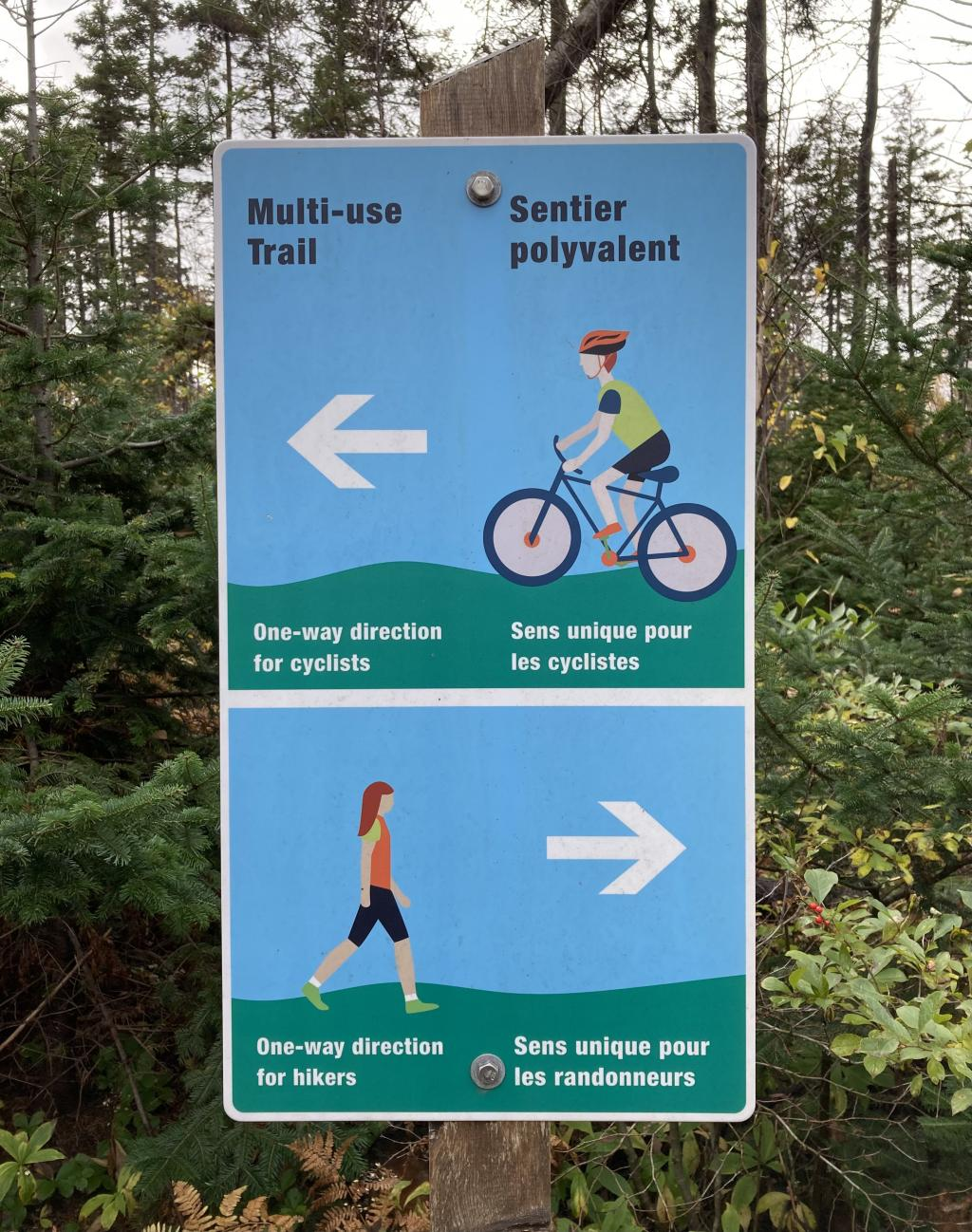 Trail sign with cyclist and pedestrian instructions.