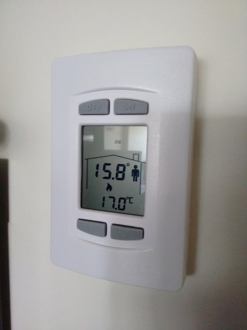 Thermostat in my office showing 15.8°C
