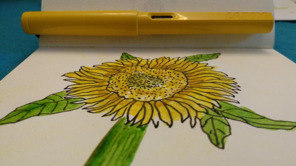 Watercolour Sunflower with Yellow Lamy Pen