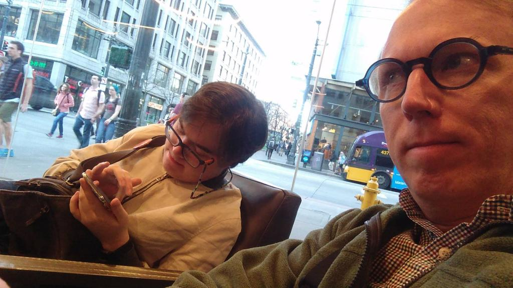 Me and Oliver in Seattle, at Victrola Coffee