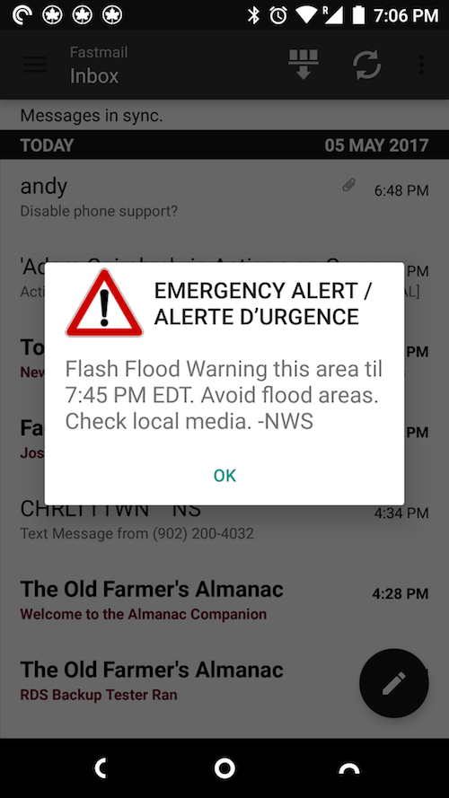 NWS Weather Alert on my Android phone