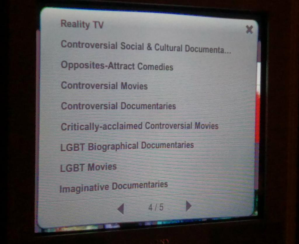 """Screen shot of Netflix running on my Nintendo Wii showing a bunch of categories with """"controversial"""" in the name."""
