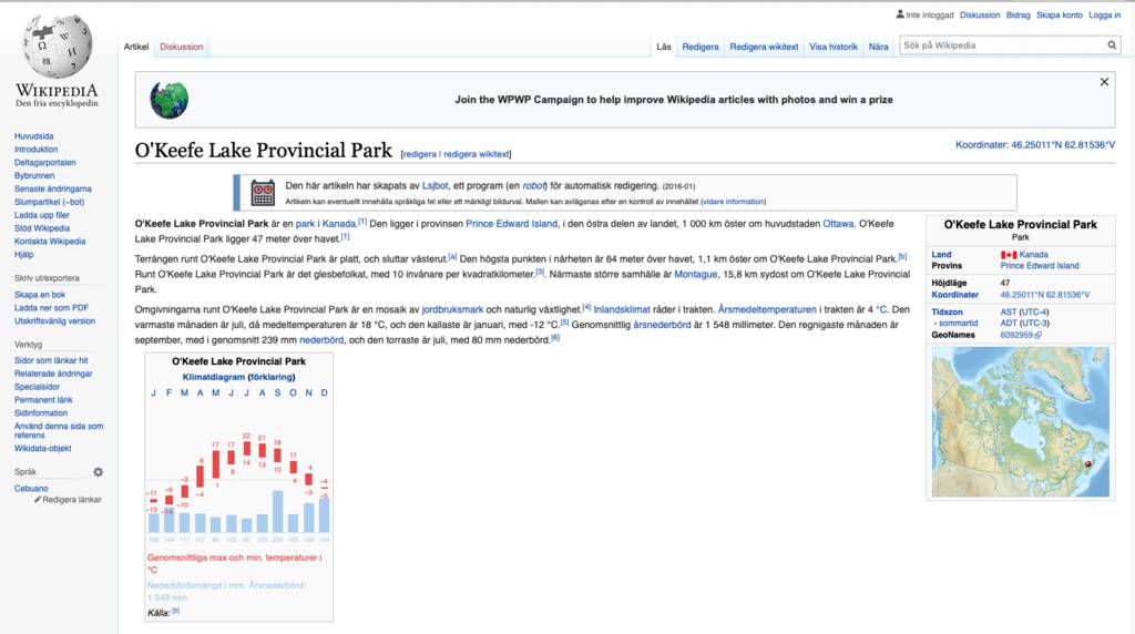 Swedish Wikipedia Page for the Park