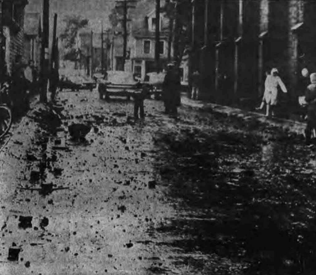 Photo of Sydney Street in Charlottetown covered in rubble.
