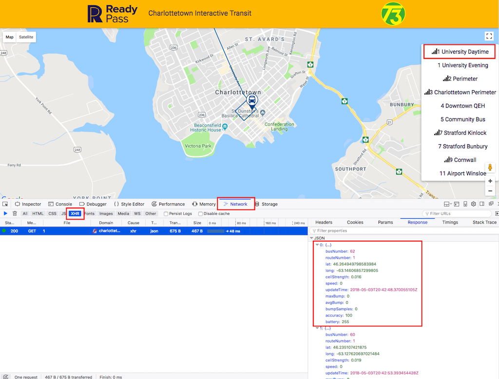 Screen shot of the developer console in Firefox while watching ReadyPass Charlottetown map