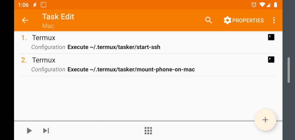 Screen shot of Tasker Task