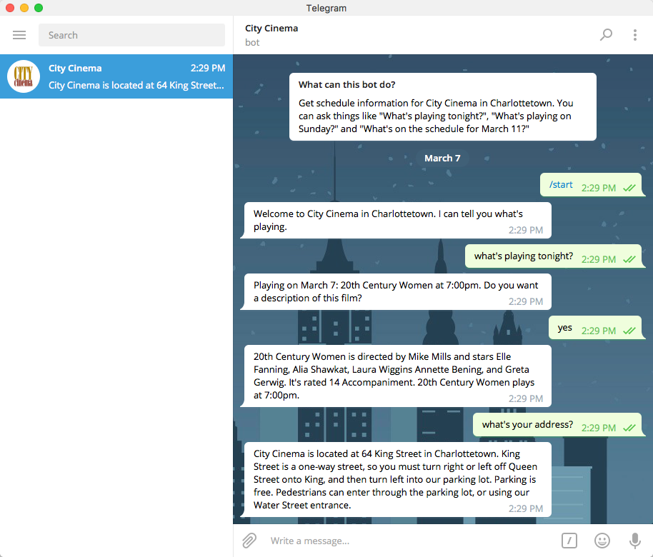 Screen shot of a Telegram conversation with the CityCinemaBot.