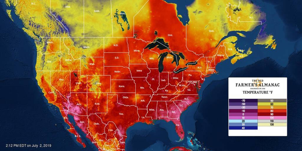 North American temperature map for July 2, 2019