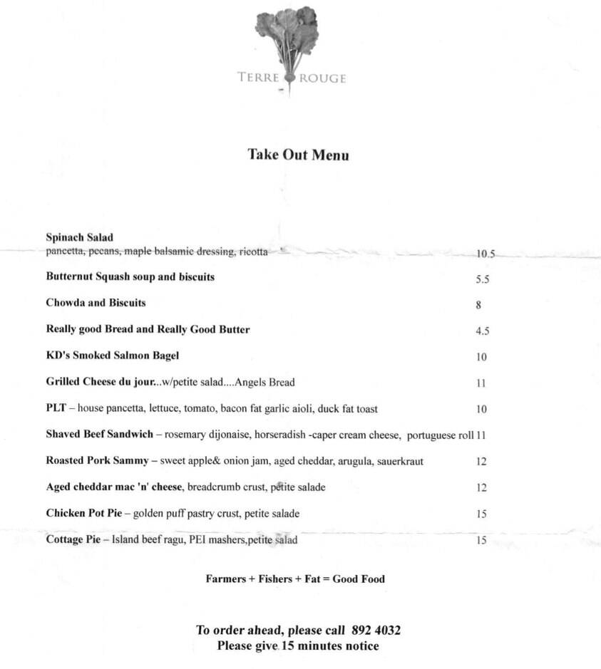 Terre Rouge takeout menu from January 2013