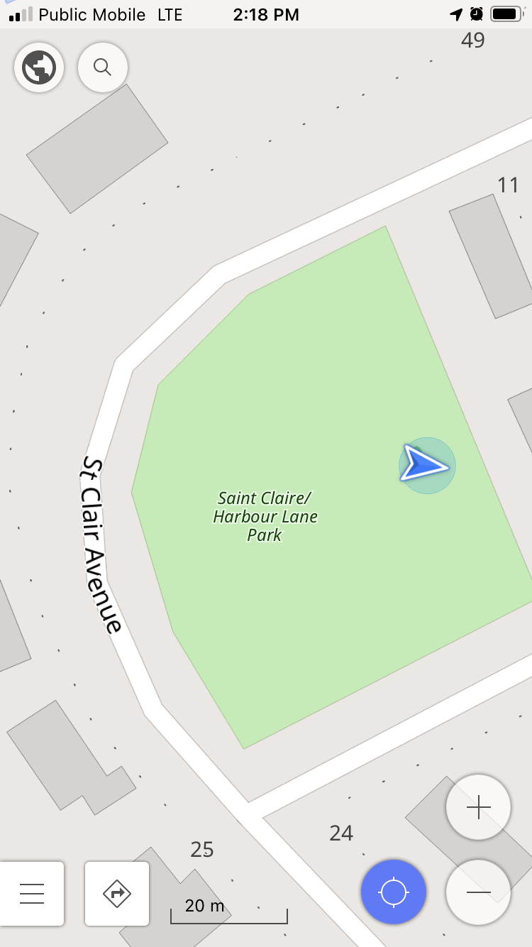 Screen shot of the OSMAnd app running on my iPhone, showing the park and the location of the tree.