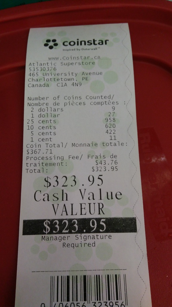 Photo of Coinstar receipt showing total and commision