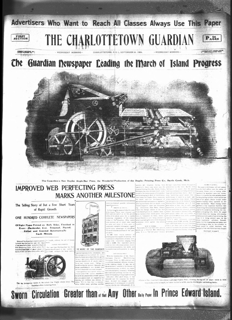 Front page of The Guardian, Sept. 28, 1904