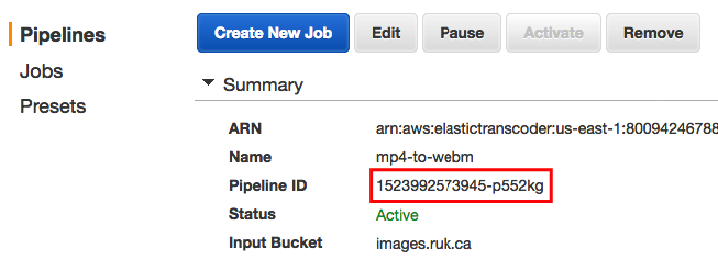 Screen shot showing Pipeline ID value in AWS