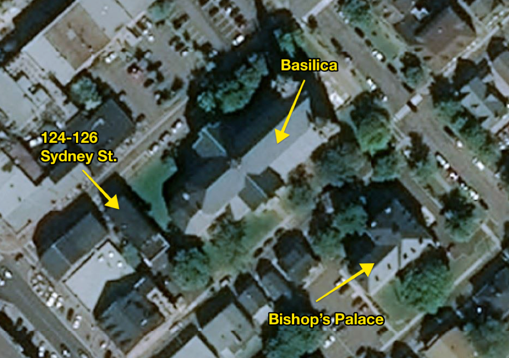 Locator Map showing 124-126 Gahan, the Basilica, and the Bishop's Palace