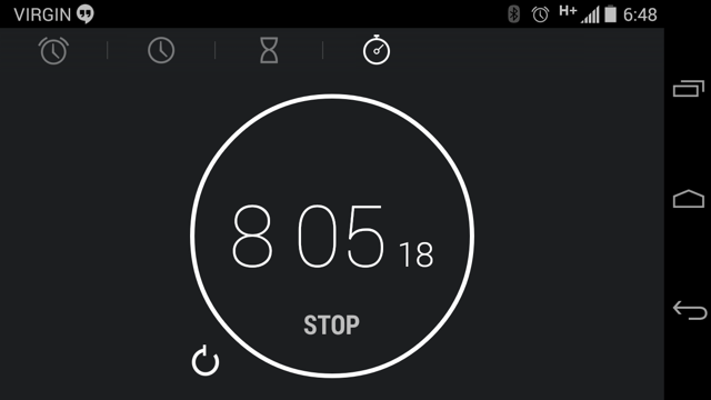 My Android phone stopwatch application showing 8 minutes and 5 seconds