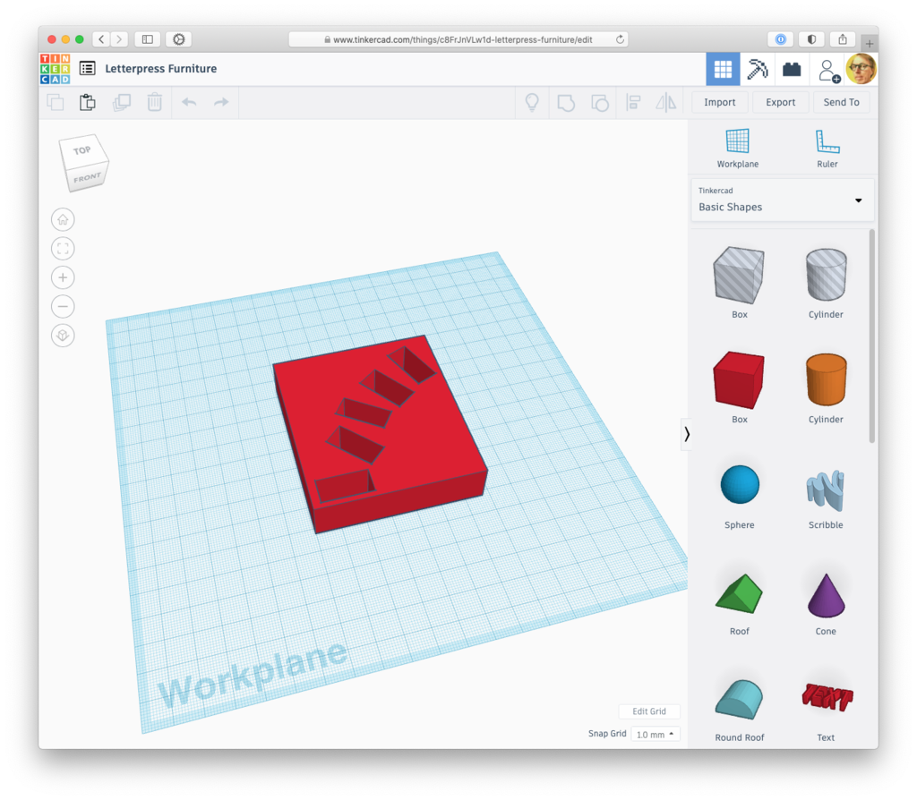 Tinkercad screen shot showing 3D model of a square filled with letter-sized rectangular holes.