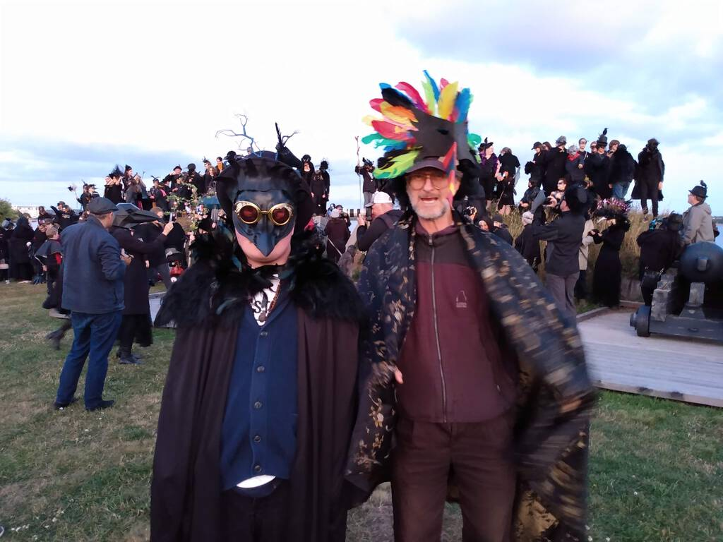 Oliver beside Tony Reddin at the end of the Crow Parade, Art in the Open 2019