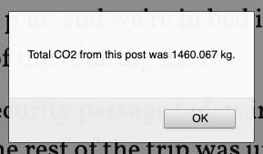 Alert showing total carbon emissions of 1460.067 kg,